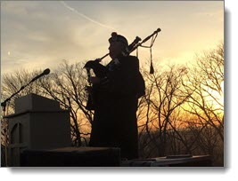 bagpipes at the Easter Sunrise service